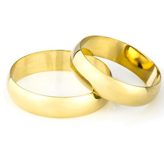 Par De Aliança De Casamento Em Ouro 18k 5,00mm Ta50