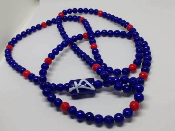Guia Ogum Azul Marinho E Vermelha Porcelana Pronta Entrega