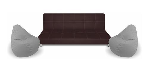 Sala Move - Sofa Cama Click Ecocuero + 2 Sillaspuff - Nuevo!