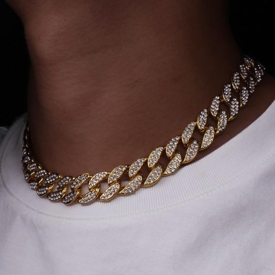 Colar 40cm Corrente Cravejada 15mm Ouro Hip Hop Lxbr Bl56