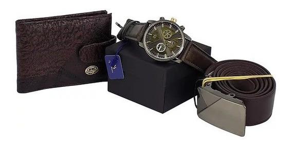 Relógio + Cinto E Carteira