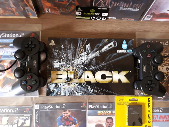 Playstation 2 Ps2+ Memory Card+ 02controles+5 Jogos+ Adesivo