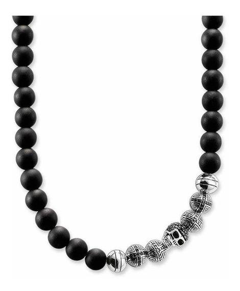 Collar De Obsidiana Plata Zirconia Calavera Thomas Sabo
