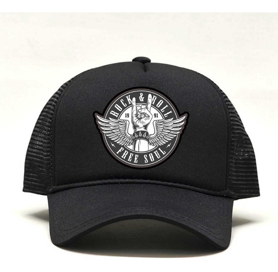 Boné Trucker Com Aplique Rock N