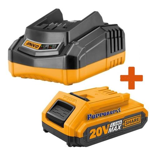 Kit Cargador Rapido 20 Volt + 1 Bateria 20v 2ah Ingco P20s