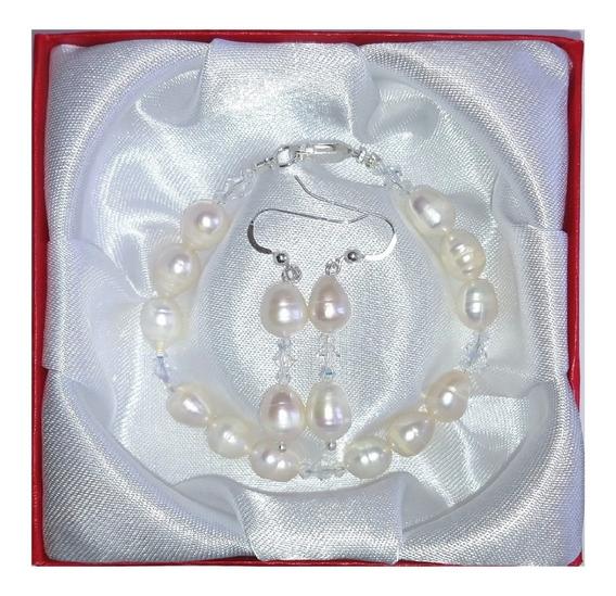 Pulsera Aretes Perla Cultivada Cristals Swarovski Plata A052