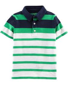 Camiseta Polo Carters Menino Estilo Social Algodão Verde