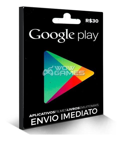 Cartão Play Store Google Gift Card R$ 30 Reais Android Br