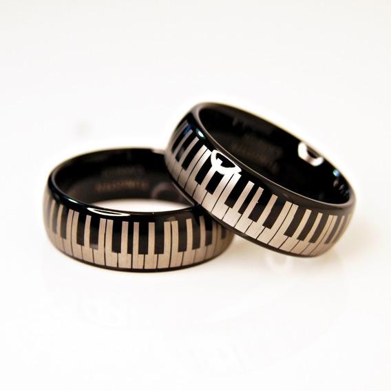Par Anillos De Tungsteno Piano Keys Pareja Matrimonio