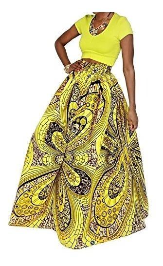 Laraine Mujer Africana Impresion Floral Maxi Falda Casual Un