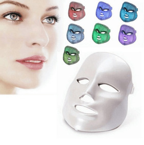 Máscara Estética Facial Fototerapia Luz Led Sete Cores Com C