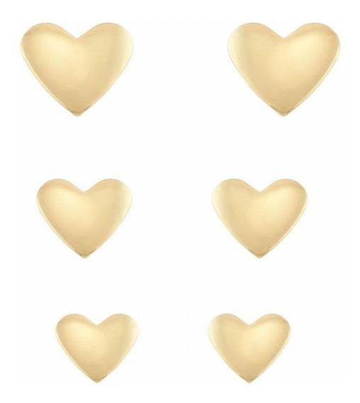 Trio De Brincos Coração Liso Folheado Ouro