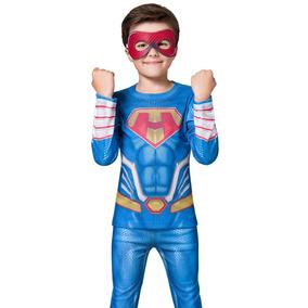 Pijama Longo Kids - Super Herói Com Máscara