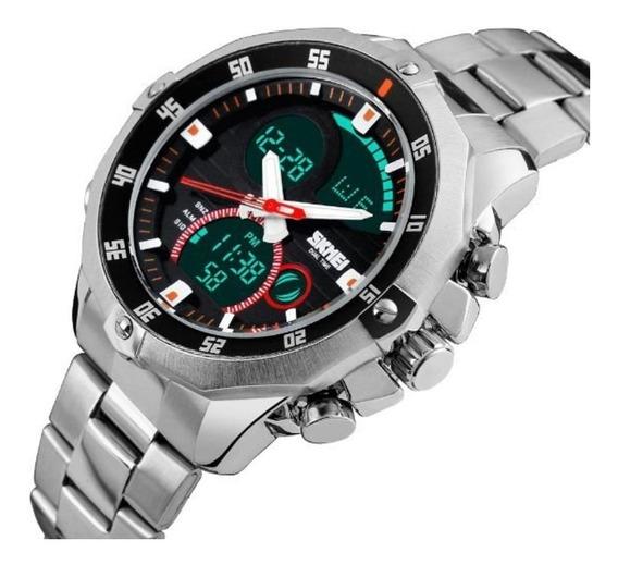 Relógio Masculino Skmei 1146 Esporte Pulseira Aço Inox