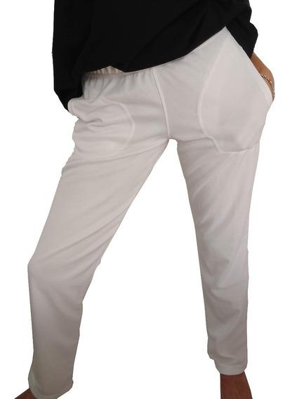 Pantalon Jogging Unisex Acetato Blanco Hasta Talle Especial