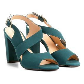 12aac7c5f0 Sandalia Salto Grosso Azul - Sandálias para Feminino Azul petróleo ...