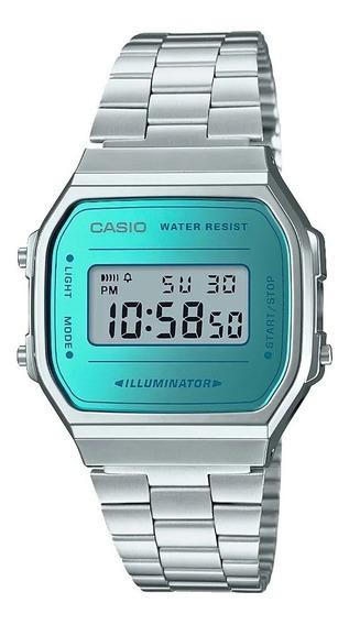 9 Relógio Casio Vintage Prateado A168wem-2df-br Azul