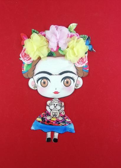 Parche Para Coser Tela Frida Flores 18x28cm P1126