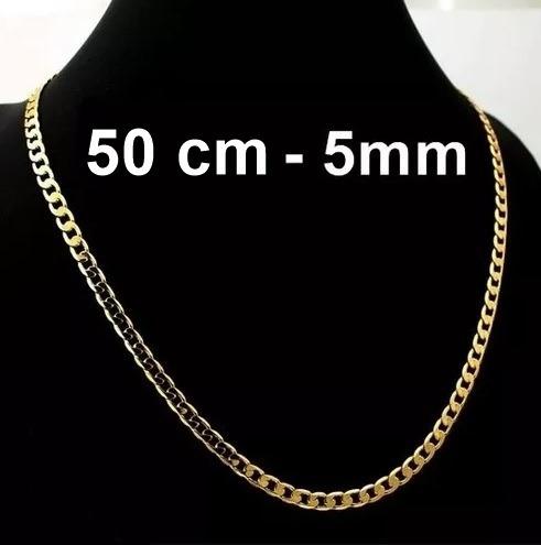 Corrente Cordão Grumet Quadrado 2 Banhos Ouro 18k- 50cm, 5mm