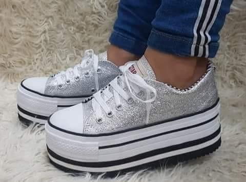 Zapatillas Plataforma Gliter Mujer Libianas
