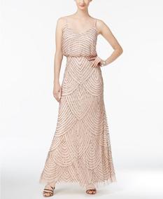 Vestido Adrianna Papell Bordado Color Blush Talla 12us