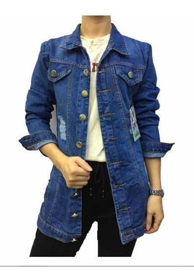 Max Jaqueta Jeans Feminino Rasgado Moda Longer