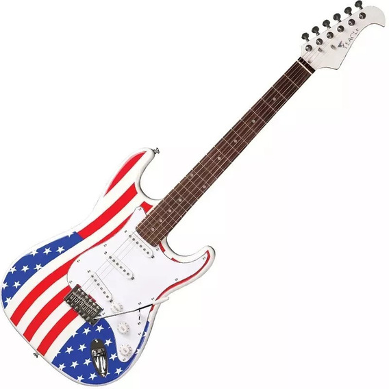 Guitarra Bandeira Usa-eua Stratocaster Eagle Cap Wilkinson