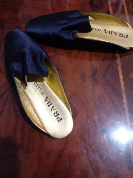 Zapatos Prada Slippers Satin Original Made In Milano 39 1/2