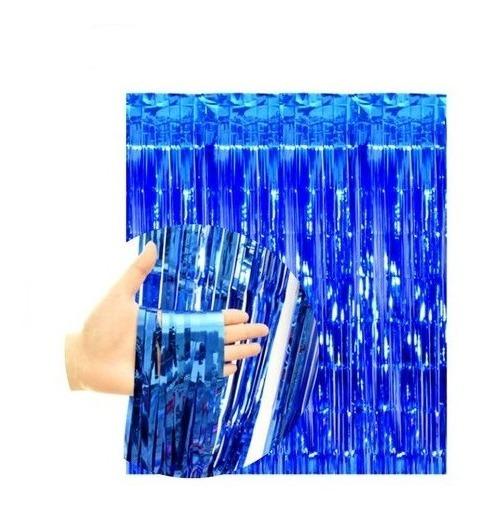 Cortina Azul Metalizada Lluvia Fondo Cumpleaños Deco