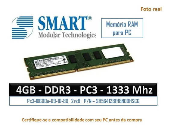 Memoria Ram Ddr3 4gb Smart 1333mhz Pc Seminovo Funcionando