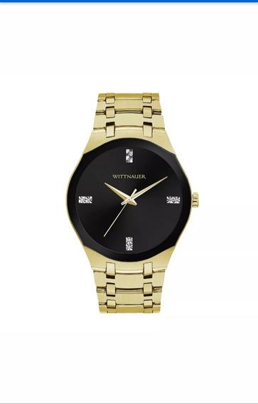 Relógio Wittnauer Masculino Dourado Fundo Preto Wn3085