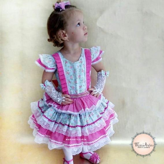 Vestido Junino Infantil Caipira Luxo + Laço Cabelo (brinde)