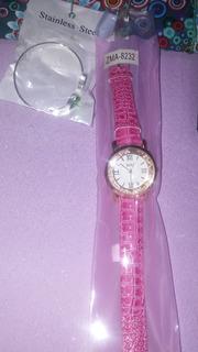Reloj De Mujer Cuero Rosa