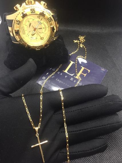 Kit Relógio Corrente Banhada A Ouro 18k