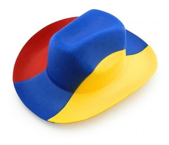 Sombrero Colombia Texano Tricolor Fieltro Post-formado.6020