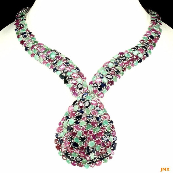 Collar De Rubi, Zafiros Y Esmeraldas Naturales , Jm46