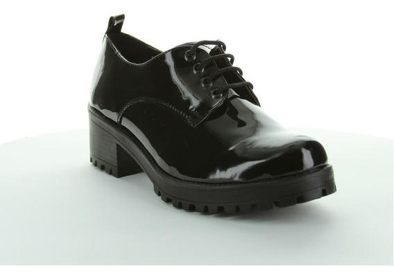 Zapato Cerrado Capa De Ozono Mujer Negro Tipo Charol 6001660