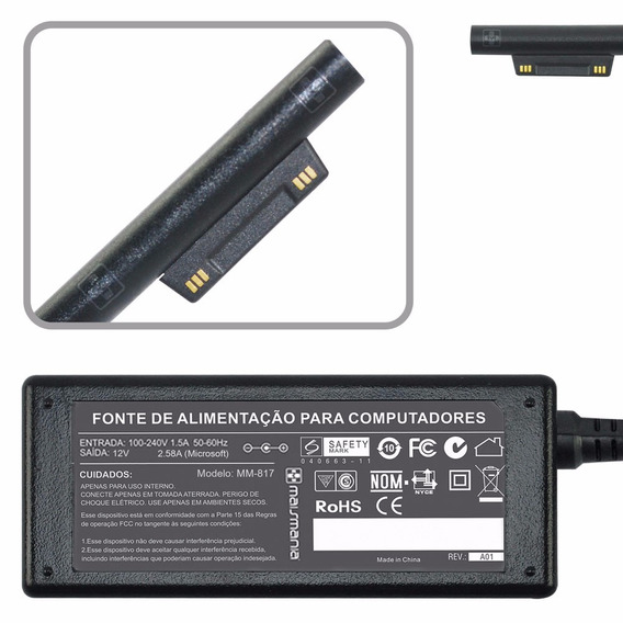 Fonte Para Tablet Microsoft Surface 3 Intel I5 12v 2.58a 817