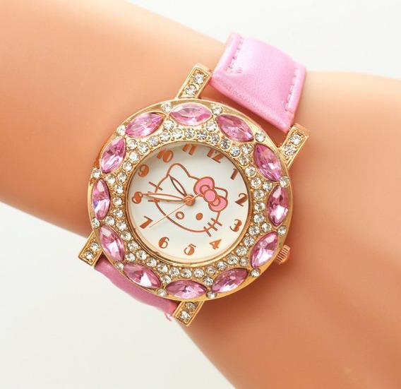 Relógio Feminino Pulso Hello Kitty Infantil Strass-rosa Bebê