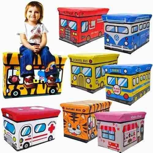 Puff Assento Infantil Organizadora Brinquedos Dobravel Boys