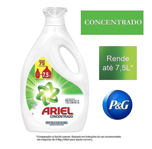 Sabão Líquido Ariel Expert 3l Concentrado Rende Até 7,5 Lts