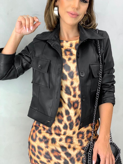 Jaqueta Feminina Preta Couro Ecológico Forrada Blusa Frio