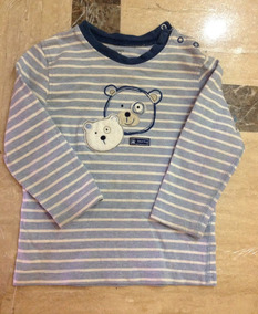 Camisa Playera Manga Larga Azul Bebe 24 Meses Carters Osos