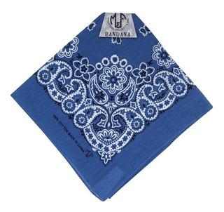 Bandana Importada Western M&f Azul Estampa Branco