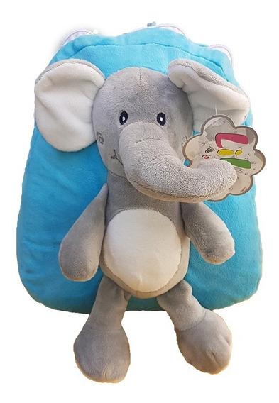 Mochila Com Pelúcia Costurada Em Formato De Elefante.