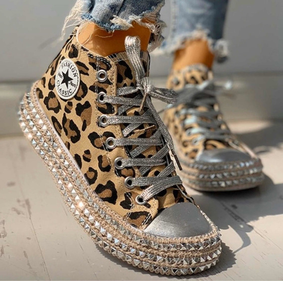 Zapatillas Sneakers Animal Print Con Strass Importadas