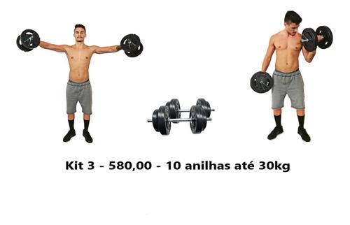 Kit Musculação 2 Barra Halter 40cm + 30kg Anilhas