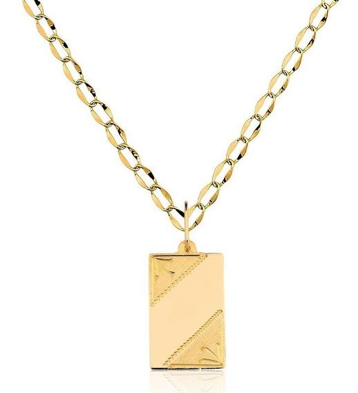 Placa Nome + Corrente 50 Cm Ouro 10k Pingente P17