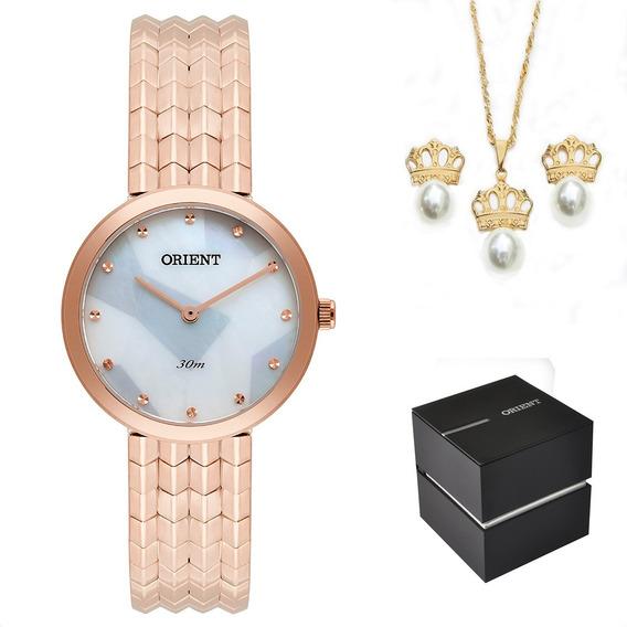 Kit Relógio Orient Feminino Frss0022 B1rx Original + Nf
