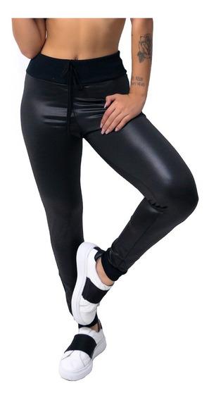 Kit 4 Calça Legging Cirrê Couro Fake Cós Alto Feminina 050
